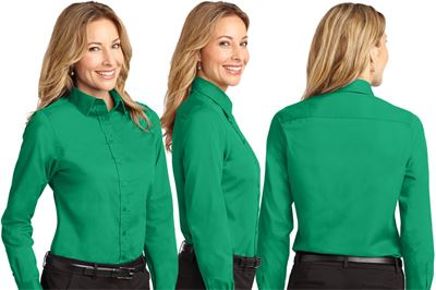 Ladies Long Sleeve Button-down