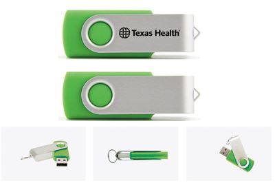 Texas Health Flash Drive  8GB - 32GB -Green